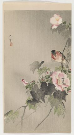 'Stonechat perched on a flowering branch' (1900′s). Woodblock print by Ohara Koson 小原古邨 (1877 - 1945). Image and text information courtesy Freer Sackler. Copyright with museum.