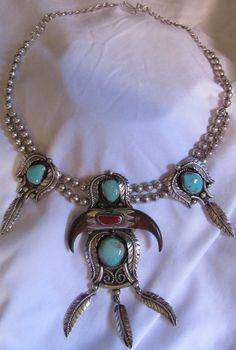Kakiki Navajo Native American Sterling  turquoise necklace  #Unbranded