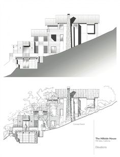 Contemporary Hillside House Nestled on the Hills of Mill Valley California by SB Architects - Home Design and Home Interior Houses On Slopes, Interior Window Trim, Revit, Hillside House, Architectural Section, Grand Homes, House Drawing, Spanish House, House On A Hill