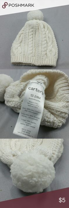 Carters Girls White Knit Beanie Hat 12-24 Months Carters Knit style beanie with fuzzy ball on top. Super warm, and adorable! Its a size 12-24 Months. Very cleanand in excellent condition. It was $12 now it is $5! Over 50% Off its original Price! I also ship same day - Prioirty mail! 2-3 Day Fast! Bundle and save a extra 15%! Huge savings on Kiddo Clothes! Carter's Accessories Hats