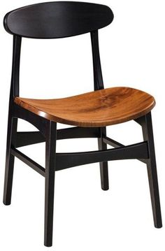 Quick Ship Marque Brown Maple Side Chair Enjoy a comfy seat in mid century modern style. The Marque makes it's mark in dining room or kitchen. Built in solid brown maple wood. Choice of stain or paint.
