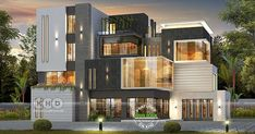 7 bedroom ultra modern box type house plan in an area of 8610 square feet by Greenline Architects & Builders, Calicut, Kerala. Modern Small House Design, Modern Villa Design, Bungalow House Design, House Front Design, Sims House Plans, Modern House Plans, D House, Facade House, Ultra Modern Homes