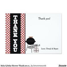 Baby Q Baby Shower Thank you note BBQ grill Card