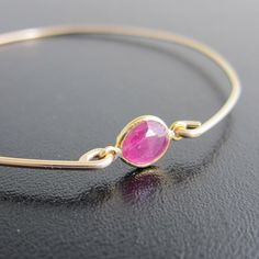 Pink Sapphire Bracelet Sapphire Gemstone Pink by FrostedWillow