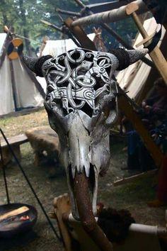 The Viking Queen Deer Skull Art, Skull Artwork, Skull Painting, Deer Skulls, Skull Decor, Cow Skull, Animal Skulls, Carved Skulls, Skull Drawings