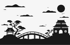 Japanese Garden Silhouette, Patio, Bridge, Japanese Style PNG And Japanese Garden Style, Japanese House, Japanese Art, Japanese Cartoon, Silhouette Couple, Silhouette Art, Landscape Silhouette, Asian Landscape, Japan Image