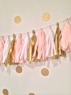 Princess party vintage Tassel Garland Pink gold by GlendaArean on Etsy https://www.etsy.com/listing/201595350/princess-party-vintage-tassel-garland
