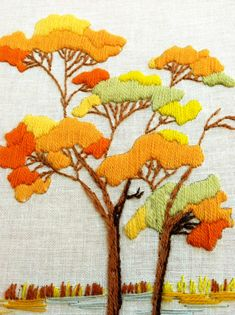 ♒ Enchanting Embroidery ♒ embroidered autumn trees | Weekend Finds: Another Crewelwork