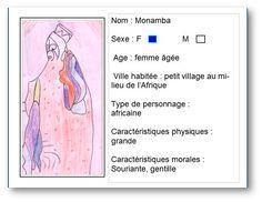 """Carte d'identité réalisée à partir du livre """"le secret de Monamba"""" par Ghislene pour voir la notice, il faut cliquer sur mon dessin."""