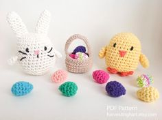 Crochet Easter bunny and chicken with eggs