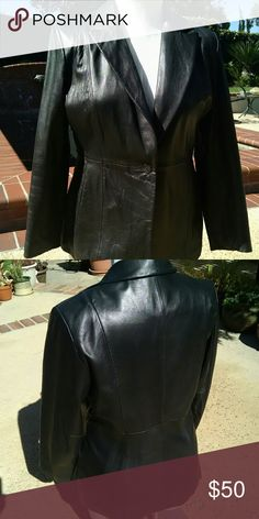 Black leather blazer/jacket fully lined soft leather one button front closure JLC New York Jackets & Coats Blazers