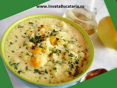 ciorba de conopida cu cartofi Soup Recipes, Cooking Recipes, Romanian Food, Romanian Recipes, Cocktail Recipes, Cheeseburger Chowder, Deserts, Good Food, Vegetarian