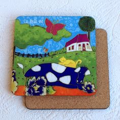 Sous-verre • La vache et le chat - reproductions des toiles d'isabelle Malo Cat Online, Isabelle, Illustrations, Cow, Coasters, Lunch Box, Kids Rugs, Gifts, Cow Cat