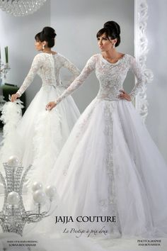 2015 Custom Made A-line Wedding Dress White Tulle Bow Belt Long Sleeve Jajja Couture Arabic Gorgeous Bridal Gown $169.00