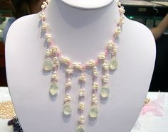 Charming 3row white Genuine Cultured Pearl Gem Necklace