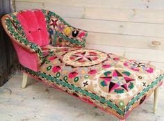 Peachy Pink Suzani Chaise by chez boheme on Etsy, .