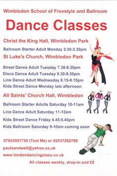 Wimbledon School of Freestyle and Ballroom Dance class timetable Class Timetable, Christ The King, Street Dance, Ballroom Dance, Dance Class, Wimbledon, School, Ballroom Dancing