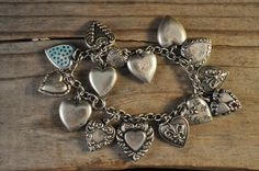 Sterling silver puffy heart charm bracelet 15 heart charms  victorian repousse vintage charms gift for mom JV1144  - pinned by pin4etsy.com