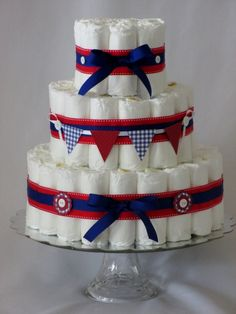 Baby Girl or Baby Boy Diaper Cake Red White and by SweetCakesDB, $45.00
