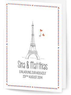 """Save the Date oder Einladung zur Hochzeit bei Hochzeitskartendesign.com - """"Luftpost"""" ist ein Airmail Design für Paare die viel reisen."""