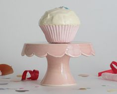 Tiny Scallop Cake Stand  Pink by vesselsandwares on Etsy