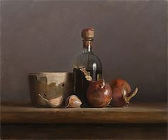 daily painting titled Still life with onions, garlic, balsamic and faiselle, Julian Merrow-Smith