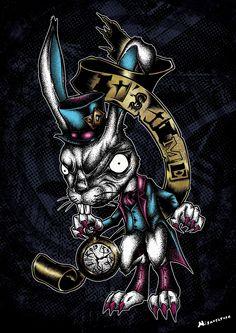 """""""It's Time"""" Affiche originale, créée à partir d'une dessin Noir et Blanc retravaillé sur ordinateur. Entre art illustratif et peinture numérique, cette affiche aux allures de tatouage est disponible en format A3 où sur commande en format: 40*60 cm à 16€ et 80*120 cm à 40 euros."""