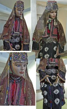 The traditional bridal/festive costume from the Karakeçeli (Yörük) villages of the Keles district (south of Bursa), as it is on exhibit in the Bursa Etnografya Müzesi.  The presentation varied some what over the years.  Village (rural) style, ca. mid-20th century.  © (all four pictures) Dick Osseman.