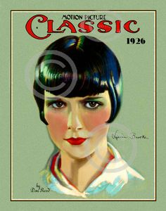 Art Deco Louise Brooks Print, Hollywood Icon, Silent Screen, Flapper, Motion Picture Classic, Don Reed, 1926, Giclee fine Art Print, 11x14
