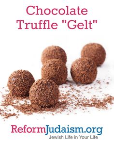"""These Hanukkah chocolate morsels are as rich as any to be found in Europe, then or now. Although these filled truffles cannot be flattened like a coin, they can be individually wrapped in malleable gold foil to evoke the image of metallic coins. Each truffle contains less than 1/8th teaspoon alcohol, which helps to """"cook"""" the yolks in this mixture. One tablespoon of orange juice can be substituted, but it will slightly alter the taste and consistency."""