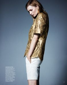 Stay Golden: Katrin Thormann in Metallics for Bazaar Germany by Jason Kim