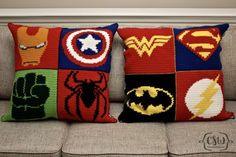 Marvel and DC Superhero Pillows - full crochet and sewing DIY instructions on Colorful Christine - Ironman, Captain America, Hulk, Spiderman, Wonder Woman, Superman, Batman, The Flash