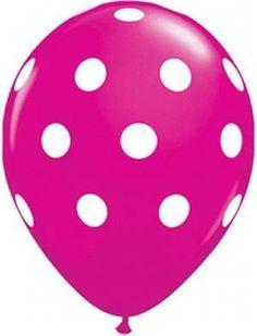 16'' Big Polka Dots -Wild Berry Latex Balloon (25ct)