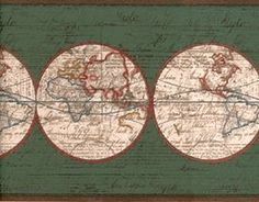 Old world expedition style map wallpaper border norwall wallpaper world map wallpaper border ax6004b amazon gumiabroncs Images