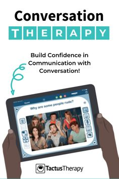 Engage in real-life discussions with pictures & questions that get people talking to practice communication strategies for their goals. Ideal for individual and group speech therapy sessions. For aphasia, cognition, dysarthria, adults, or teens. Download a FREE PDF how to use guide + pro tips. #SLP #app #TreatwithTactus