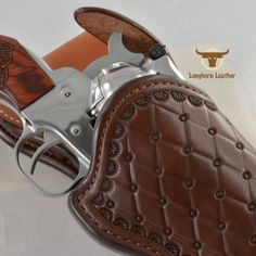"""Single Action holster featuring the """"San Carlos"""" design. 1911 Holster, Gun Holster, Vertical Shoulder Holster, Cross Draw Holster, The Winslow, Custom Leather Holsters, Western Holsters, Rifle Sling, Leather Stamps"""