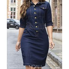 Denim Bodycon Dress, Denim Shirt Dress, Denim Attire, Jean Dress Outfits, Mode Wax, Pretty Black Dresses, Denim Fashion, Fashion Outfits, Office Outfits Women