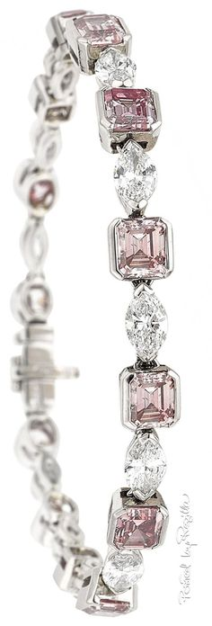 GABRIELLE'S AMAZING FANTASY CLOSET | Pink and White Diamond Bracelet mounted in 18k White Gold |