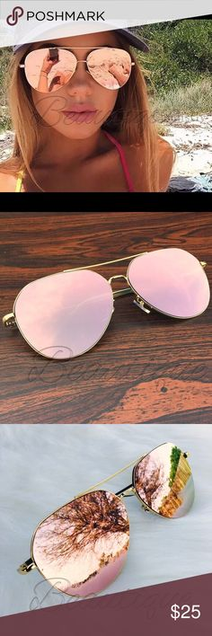 🌹Oversized Rose Gold Aviator Sunnies🌹    NWT ❤️LAST PAIR❤️These small classic metal aviators features a sophisticated rimless lens while having a clean curve and shape that represents an iconic style. Adjustable nose pads and full metal frame and temples makes this design both stylish, functional and durable. This sunglasses is made with reinforced hinges and UV400 protected polycarbonate lenses. Features: - UV 400 -Mirror reflective lenses - High quality metal alloy frame - 56 mm x 52 mm…