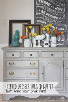 Thrifted Dresser Turned Buffet Annie Sloan Paris Gray Chalk Paint Makeover | MyBlessedLife.net