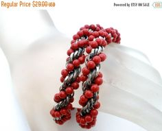 35% Sale Red Beaded Bracelet Twisted by TheJewelryLadysStore