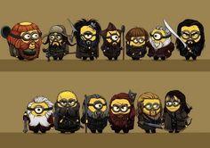 Thorin and co., minion-style! Bombur, Bofur, Bifur, Nori, Ori, Dori, Thorin, Balin, Dwalin, Oin, Gloin, Fili and Kili! I love how the artist captured their characteristics.