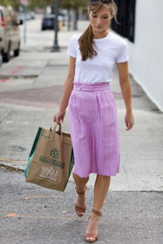 So fresh!  White tee, striped skirt, brown sandals.