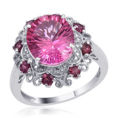 Magenta pink mystic topaz and silver ring.