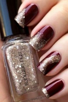 Marsala nails with taupe or light gold glitter