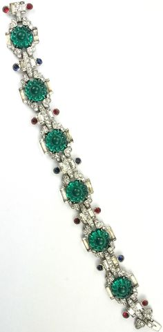 KTF Trifari 'Alfred Philippe' 'Sheherazade' 1930s Jewels of India Pave Baguettes Emerald Fruit Salads Rubies and Sapphires Bracelet