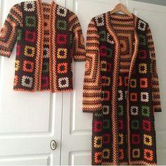 Gilet Crochet, Crochet Coat, Crochet Clothes, Recycle Old Clothes, Diy Clothes, Crochet Squares, Crochet Granny, Granny Square Sweater, Hippie Crochet