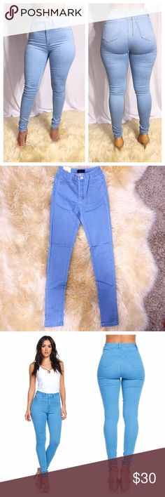 Light Blue High Waist stretchy denim jeans new Beautiful light blue denim jeans brand new. Model is wearing a size medium in first photo. I have small and medium left. Please ask what size you'd like to confirm it's in stock. Really good stretch. Jeans Skinny