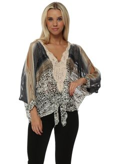 LAURIE & JOE Black Ombre Leopard Print Chiffon Cold Shoulder Top