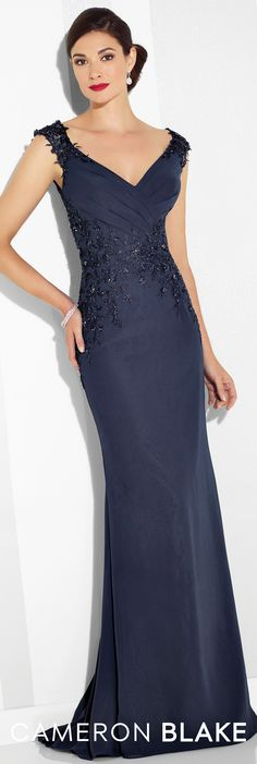 Formal Evening Gowns by Mon Cheri – Spring 2017 – Style No. 117616 – navy blue c… Formal Evening Gowns by Mon Cheri – Spring 2017 – Style No. 117616 – navy blue chiffon evening dress with lace trimmed cap sleeves Navy Evening Gown, Chiffon Evening Dresses, Mermaid Evening Dresses, Formal Evening Dresses, Dress Formal, Afternoon Dresses, Flapper Dresses, Lace Chiffon, Formal Evening Gowns